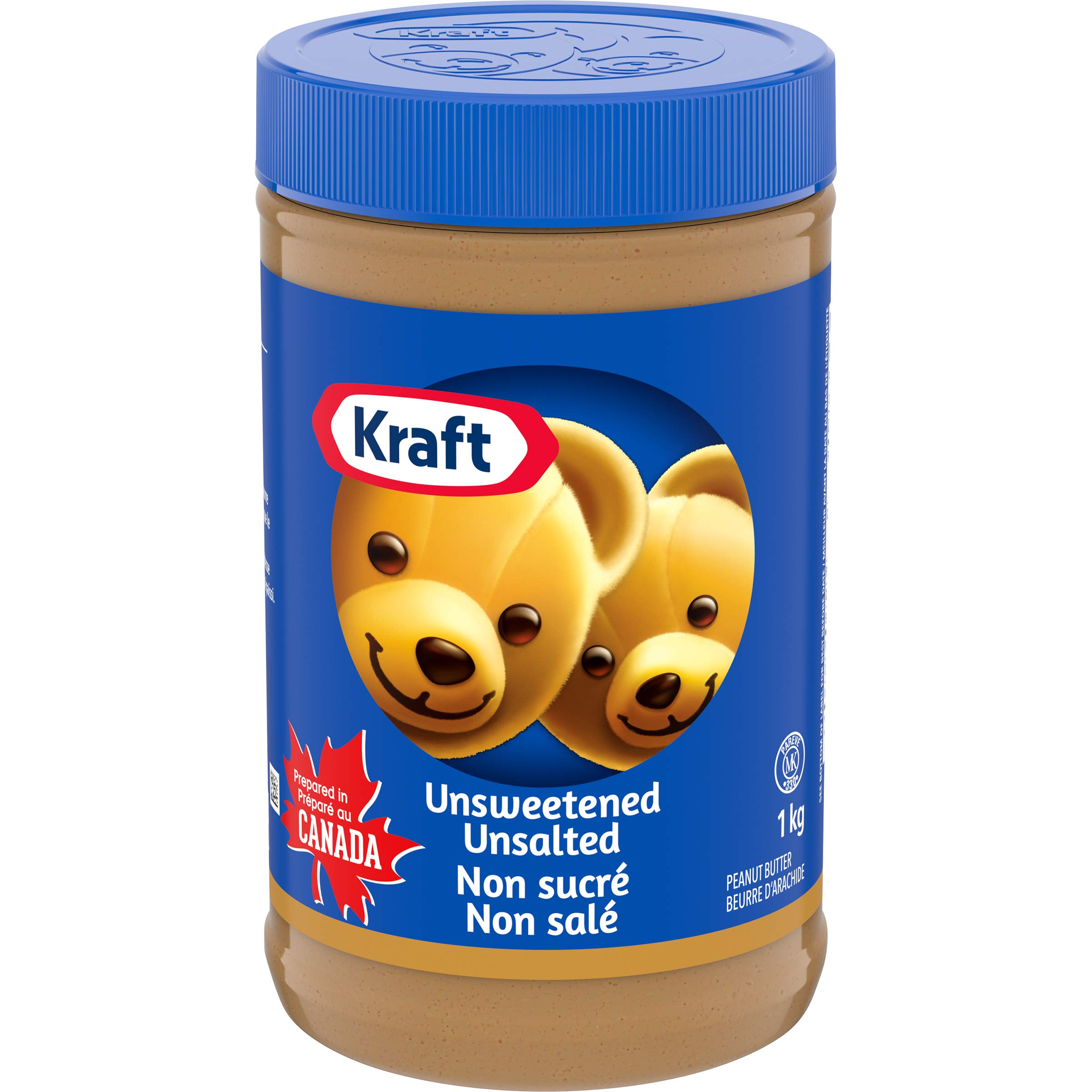 KRAFT Peanut Butter, Unsweetened/Unsalted Smooth, 1Kg/2.2lbs {Canadian}