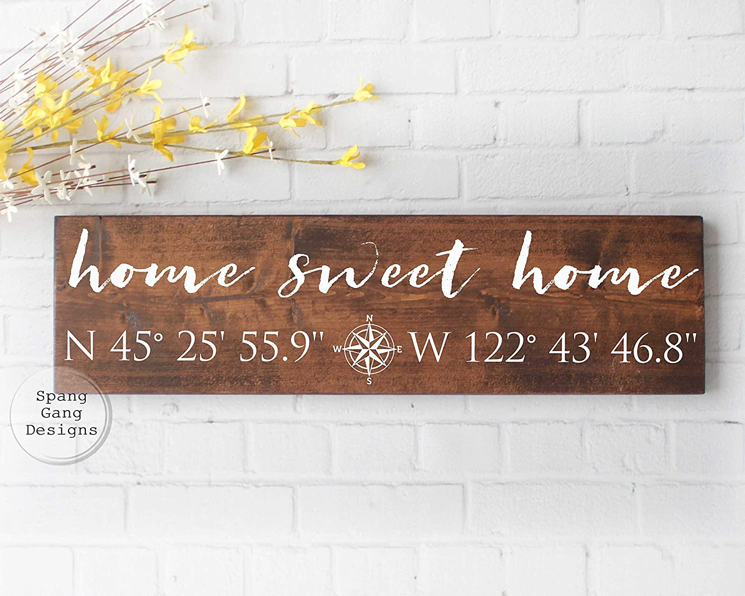 CELYCASY Home Sweet Home Longitude Latitude Sign GPS Sign Coordinates Sign Custom Coordinates Wedding Shower Gift GPS Coordinates Sign