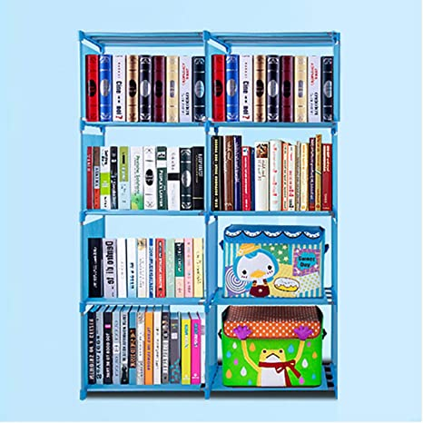 Cosway Kids Plastic Bookshelf Portable 4 Shelf Multifunctional Bookcase Adjustable HeightsUS Stock