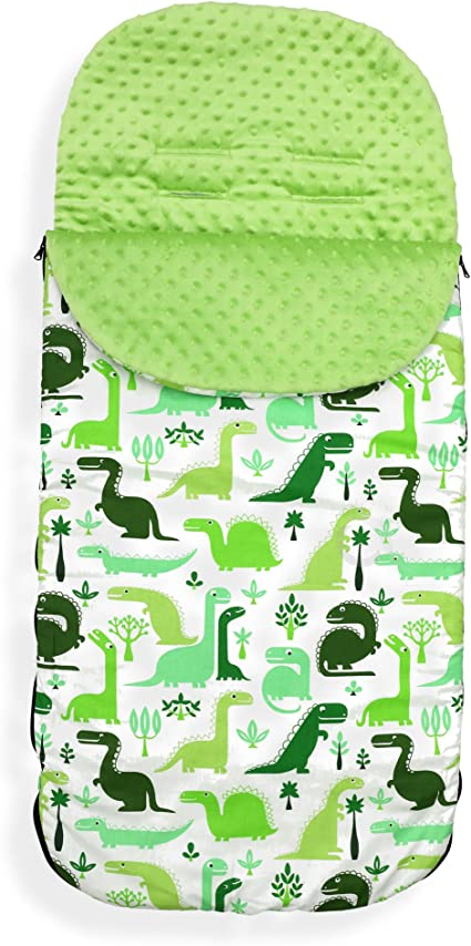 Cotton Dino//Green Minky Universal Baby Stroller cosytoes Liner Buggy Luxury Padded Footmuff