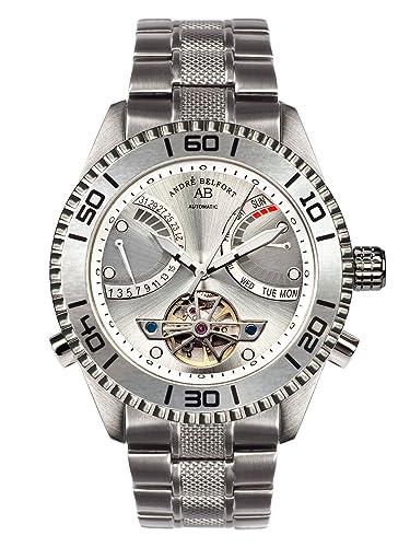 André Belfort 410159 - Reloj analógico de caballero automático con correa de acero inoxidable plateada - sumergible a 50 metros: Amazon.es: Relojes
