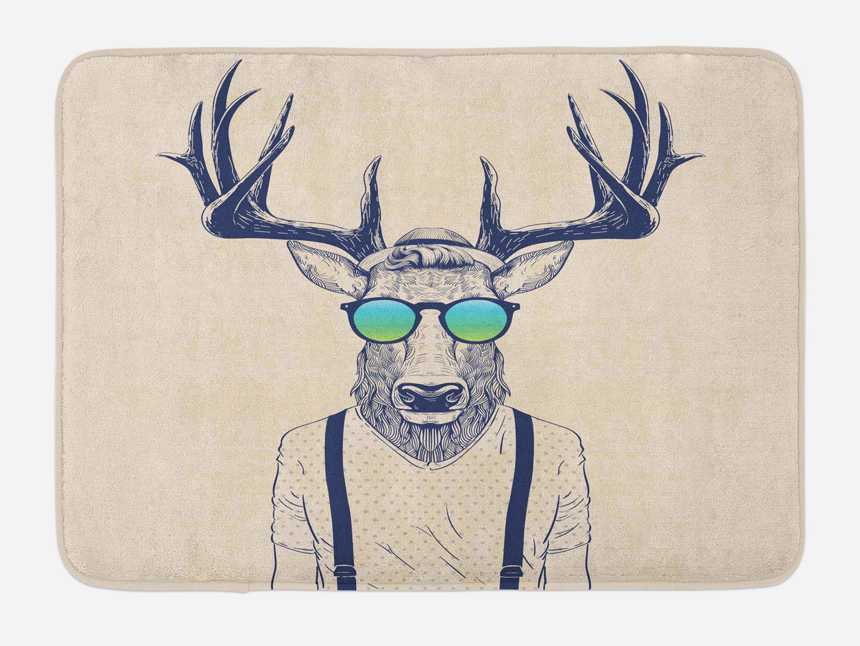 Ambesonne Antlers Bath Mat, Illustration of Deer Dressed Up Like Cool Hipster Fashion Creative Fun Animal Art, Plush Bathroom Decor Mat with Non Slip Backing, 29.5 W X 17.5 W Inches, Beige Black