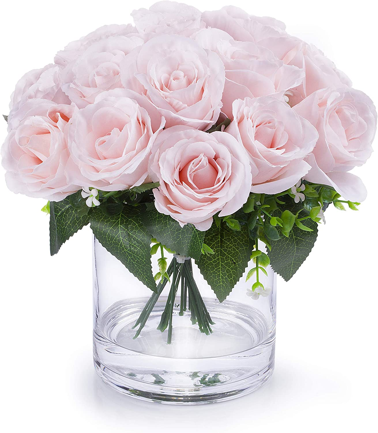 Amazon Com Enova Home Silk Open Rose Flower Arrangement In Clear Glass Vase With Faux Water Pink Home Kitchen
