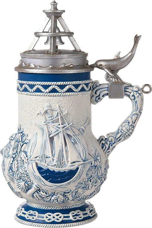 Hallmark Keepsake Ornament Beer Stein 2012 Tan Blue Santa Claus Sleigh Silver