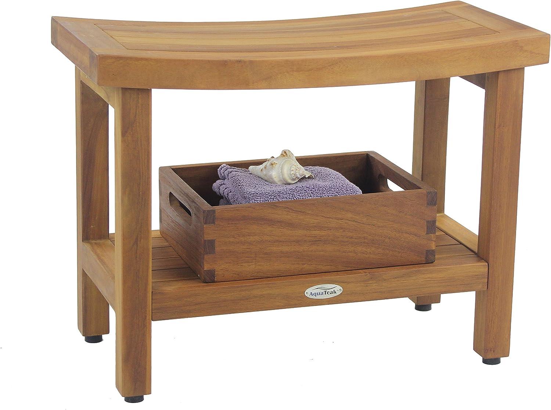 "Aquateak Patented 24"" Sumba Teak Shower Bench mit Shelf"