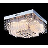 "Saint Mossi Chandelier Modern Crystal Raindrop Chandelier Lighting Flush mount LED Ceiling Light Fixture Pendant Lamp for Dining Room Bathroom Bedroom Livingroom 12G9 Bulbs Required H10"" X W16"" X L16"""