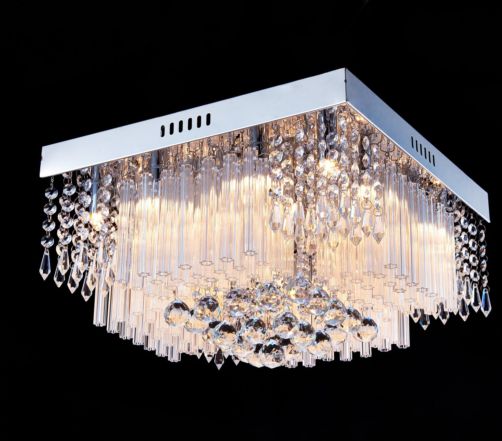 Saint Mossi Chandelier Modern K9 Crystal Raindrop Chandelier Lighting Flush mount LED Ceiling Light Fixture Pendant Lamp for Dining Room Bathroom Bedroom Livingroom 12G9 Bulbs Required H10 X W16 X L16 by Saint Mossi