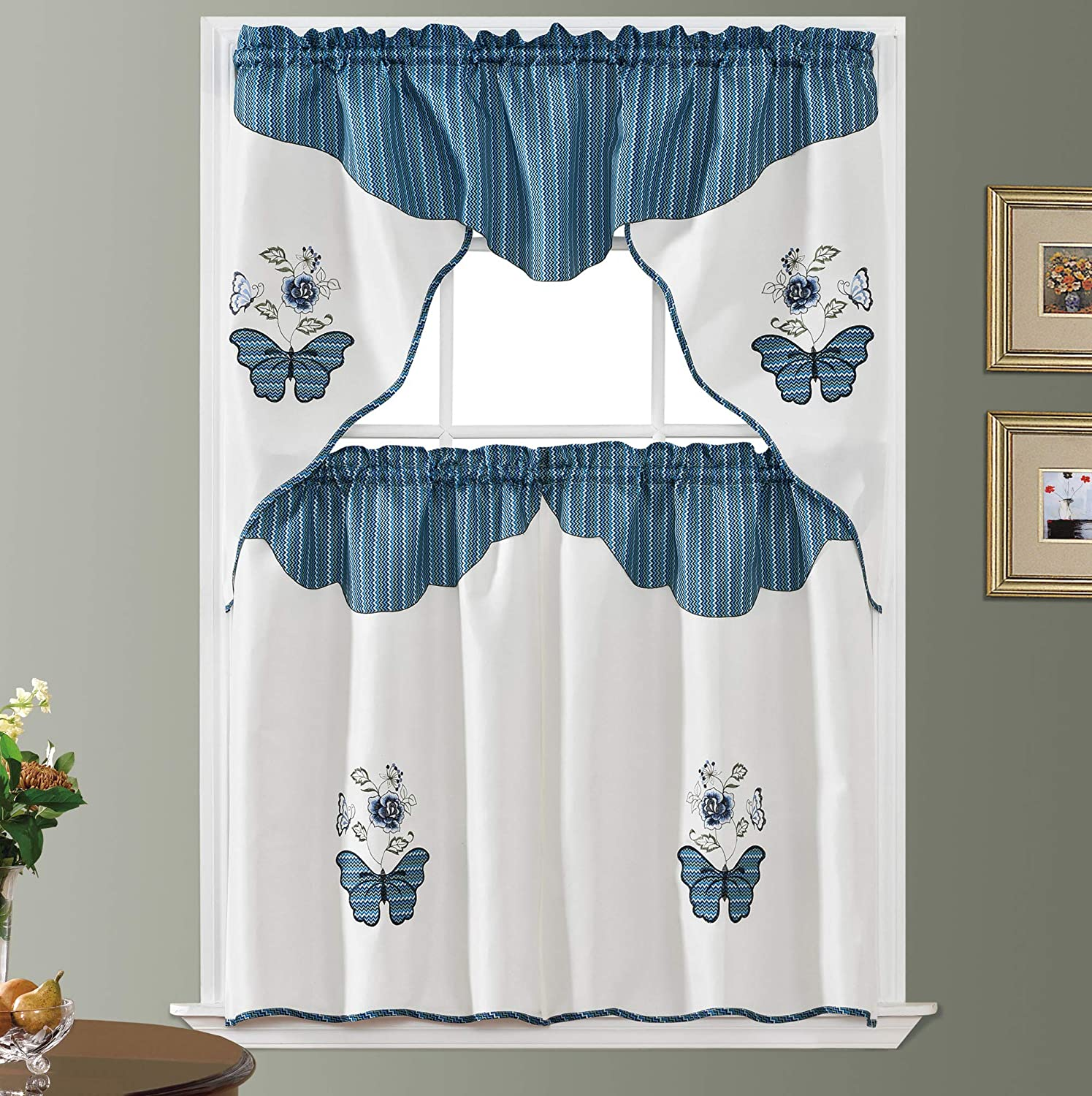 Butterfly Applique. 3pcs Swag Valance and Tiers Set. Big Butterfly Applique of Print Fabric and Matching Color Embroidery of Rose and Butterfly Combination. (Blue Ripple)
