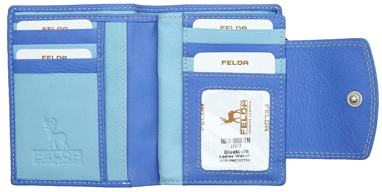 7407c55b5550e Felda - Damen Geldbörse aus Echtleder - Kartenfächer   Münzfach - RFID- Blocker - Blau Multi  Amazon.de  Koffer