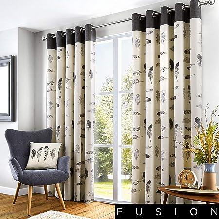 Fusion Idaho 100 Cotton Ready Made Eyelet Curtains 66
