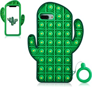 Jowhep for iPhone 6/6S/7/8 Plus Case Cover Cases Silicone Cartoon Fun Cute Aesthetic Design Character Fidget Unique for Girls Boys- Bubble Cactus(for iPhone 6 Plus/6S Plus/7 Plus/8 Plus 5.5