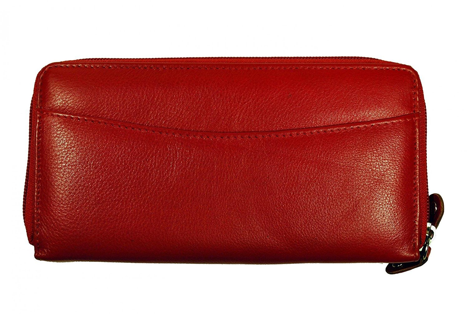 Budd Leather Calf Double Zip Around Credit Card Wallet With RFID - Red