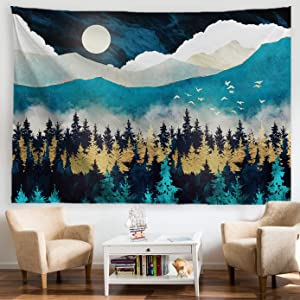 "PROCIDA Forest Mountain Tapestry Moon Misty Forest Trees Blue Night Tapestry Sunset Birds Nature Landscape Art Wall Hanging for Men Bedroom College Dorm Decor with Nails 80""W x 60""L"