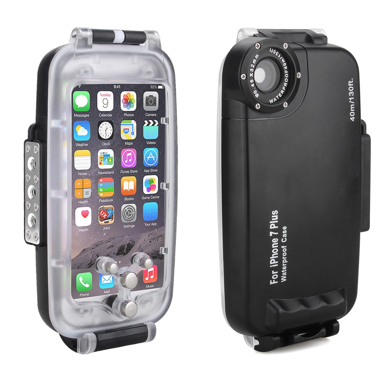 wholesale dealer 59a30 3b017 MEIKON 40m/130ft Waterproof Underwater Housing Diving Case for iPhone 7  Plus w/EACHSHOT Cleaning Cloth