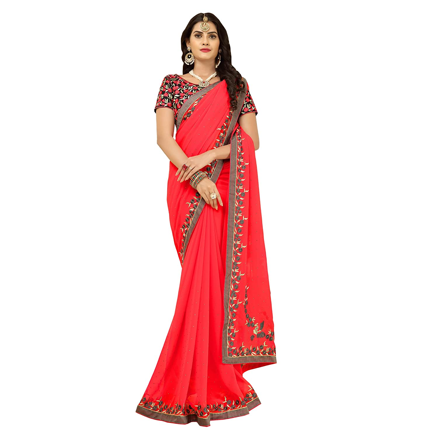 5fdf3f53609e05 Vastrang Sarees Women s Georgette Saree with Blouse Piece (6211PRCH Red)   Amazon.in  Clothing   Accessories