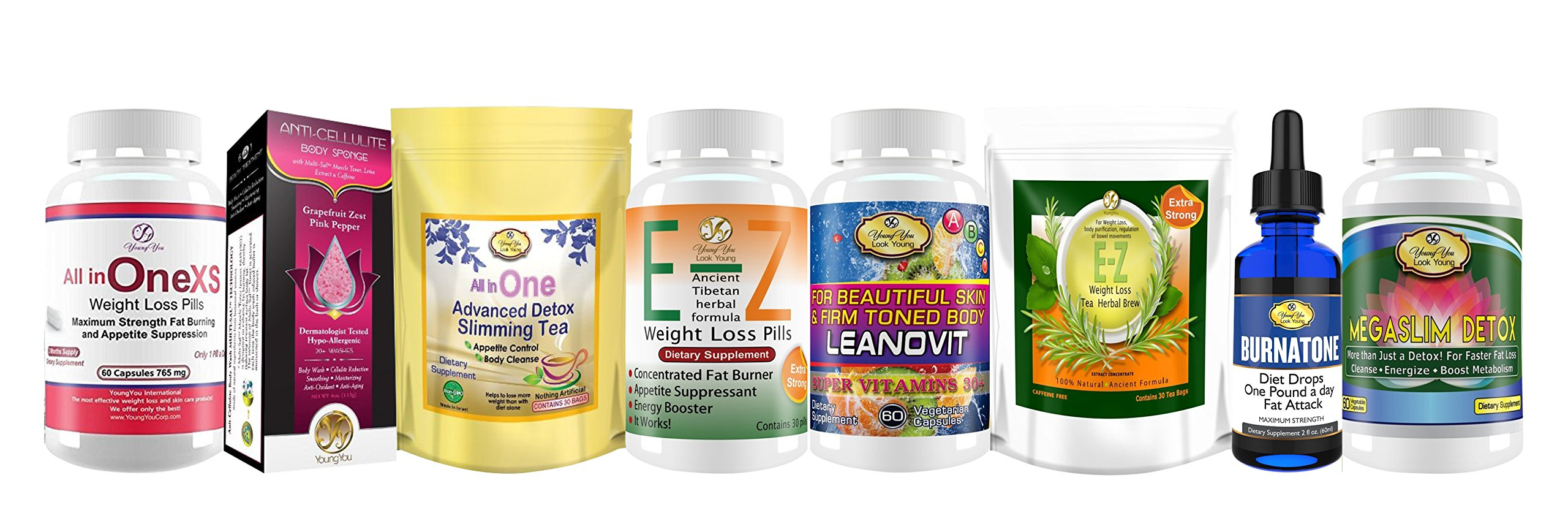 Weight Loss Package- All in One Diet pills, Anti cellulite sponge.All in One Detox Diet Tea. E-Z Weight Loss Pills. Women Multivits.E-Z Teatox.Burnatone Diet Drops. Megaslim Body Detox pills.Save $50