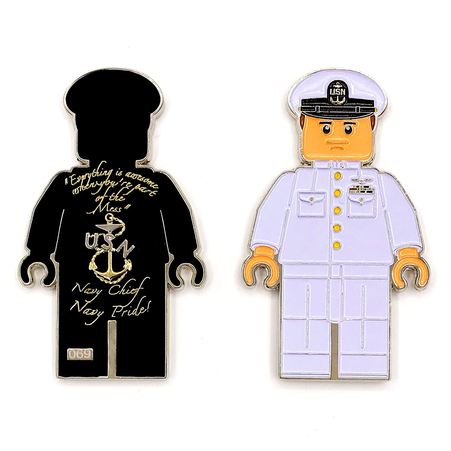 "US Navy Lego Male Officer in White Uniform, Chief Petty Officer (CPO) Chief Dress Mess ""Navy Chief, Navy Pride"" Challenge Coin M-WHT Emporium Royale"