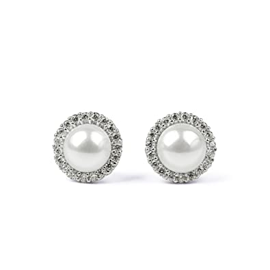 4371adb3f Image Unavailable. Image not available for. Color: Sterling Silver White  Simulated Shell Pearl White Cubic Zirconia Hoop Stud Earrings