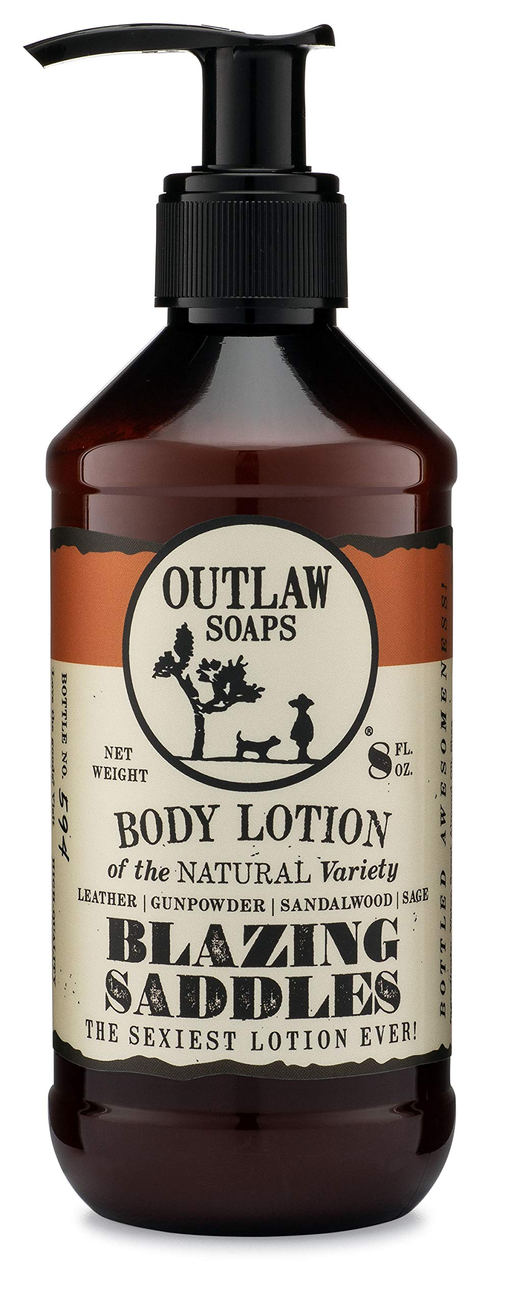 Blazing Saddles Natural Lotion - The Sexiest Lotion in the West - Western Inspired, Smells like Leather, Gunpowder, Sandalwood, and Sagebrush - Men's and Women's Lotion by Outlaw Soaps
