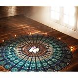 Indian Blue Mandala Round Roundie Beach Throw Tapestry Hippy Boho Gypsy Cotton Tablecloth Beach Towel Round Yoga Mat By Rajrang