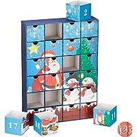 Relaxdays Adventskalender zum Befüllen, 24 Boxen, wiederverwendbar, Kinder & Erwachsene, Weihnachtskalender, ver. Farben