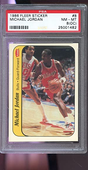 1986-87 Fleer Sticker #8 Michael Jordan ROOKIE PSA 8 (OC) Graded Basketball Card