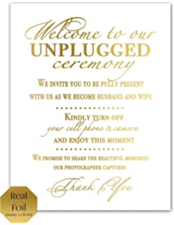 unplugged ceremony sign unplugged wedding sign no cell phone sign gold foil print