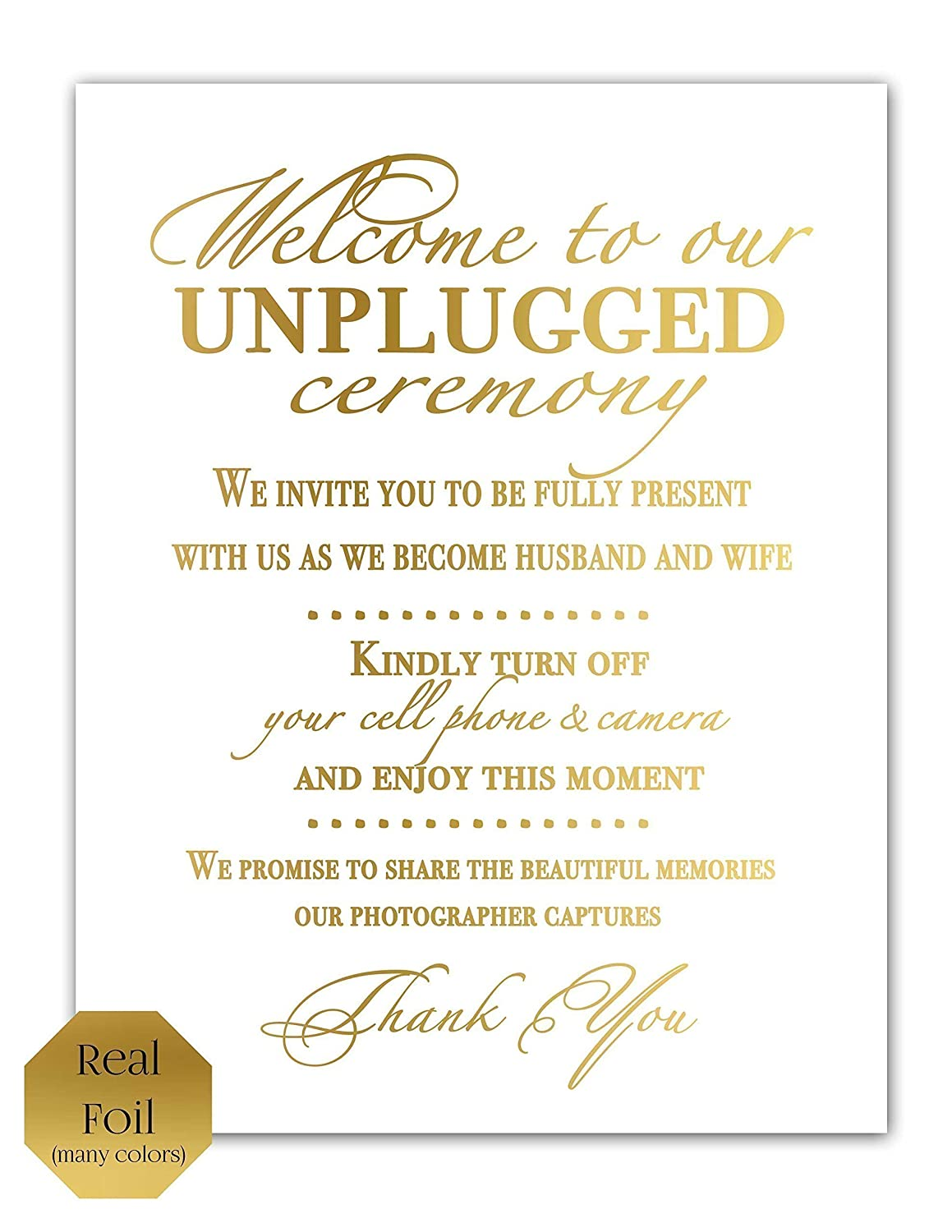 Amazon Unplugged Ceremony Sign Unplugged Wedding Sign No Cell