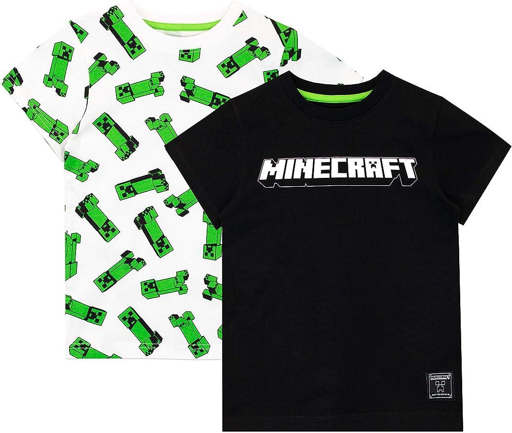 Minecraft Camiseta de Manga Corta Paquete de 2 para niños: Amazon.es: Ropa y accesorios