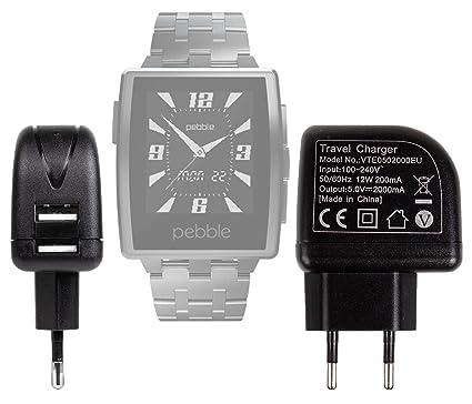 Duragadget Chargeur Secteur de Voyage USB pour Montre connectée ASUS VivoWatch, Pebble Time, Polar V800, A360 et Tomtom Golfer + Chiffon Microfibre (Charge ...