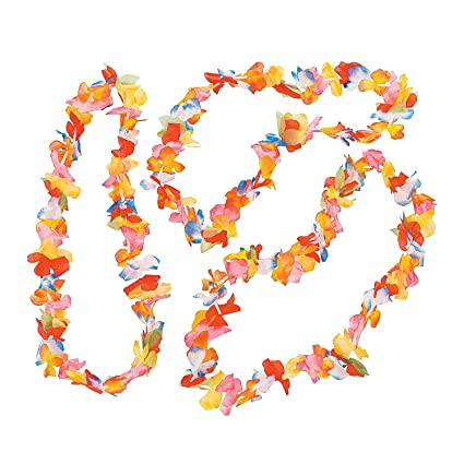 bright ql lei hawaiian party dp amazon rainbow flower com necklace