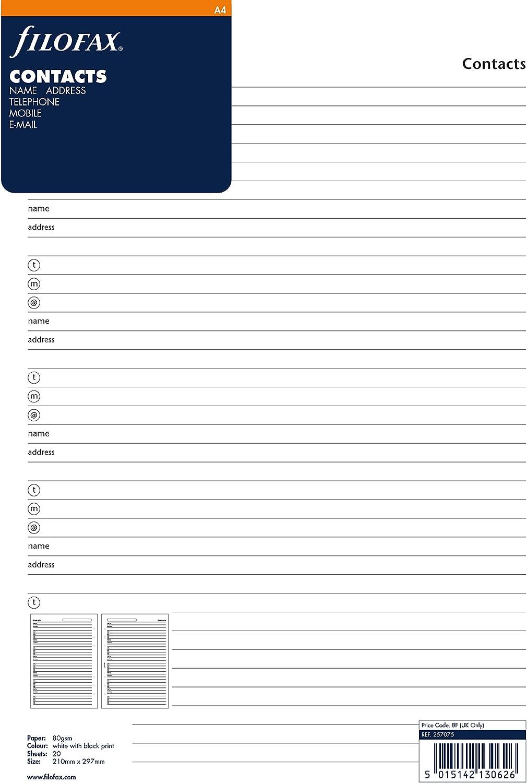Import Royaume Uni Filofax Bloc-notes Nom//adresse//email//t/él/éphone fixe//fax//t/él/éphone portable