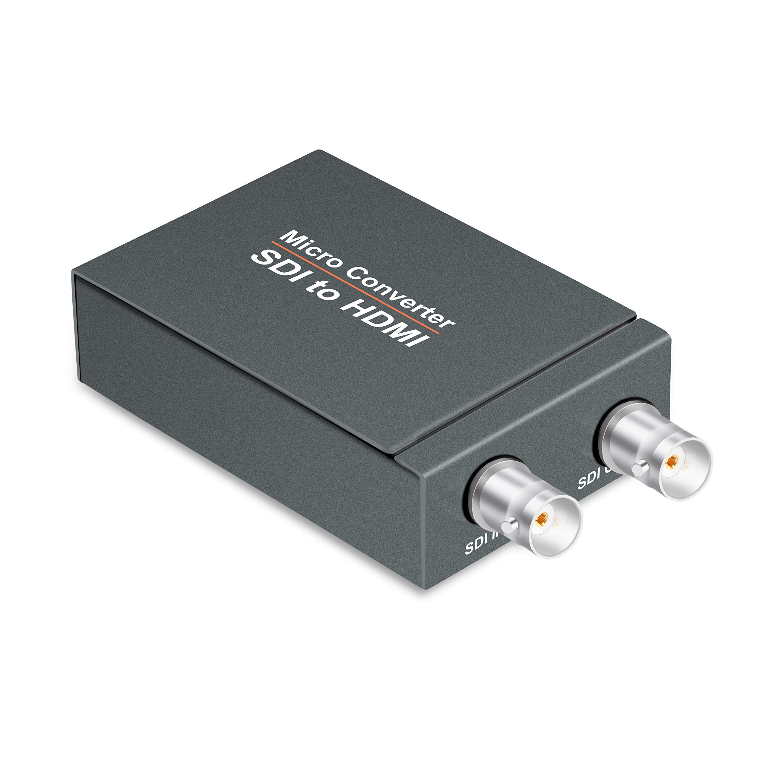 FERRISA Micro Converter SDI to HDMI(with Power Supply),3G-SDI/HD-SDI/SD-SDI to HDMI Converter Adapter,SDI in HDMI out SDI Loopout,1080P Video Audio Splitter,Support HDCP 1.3 for Camcorder Camera to TV