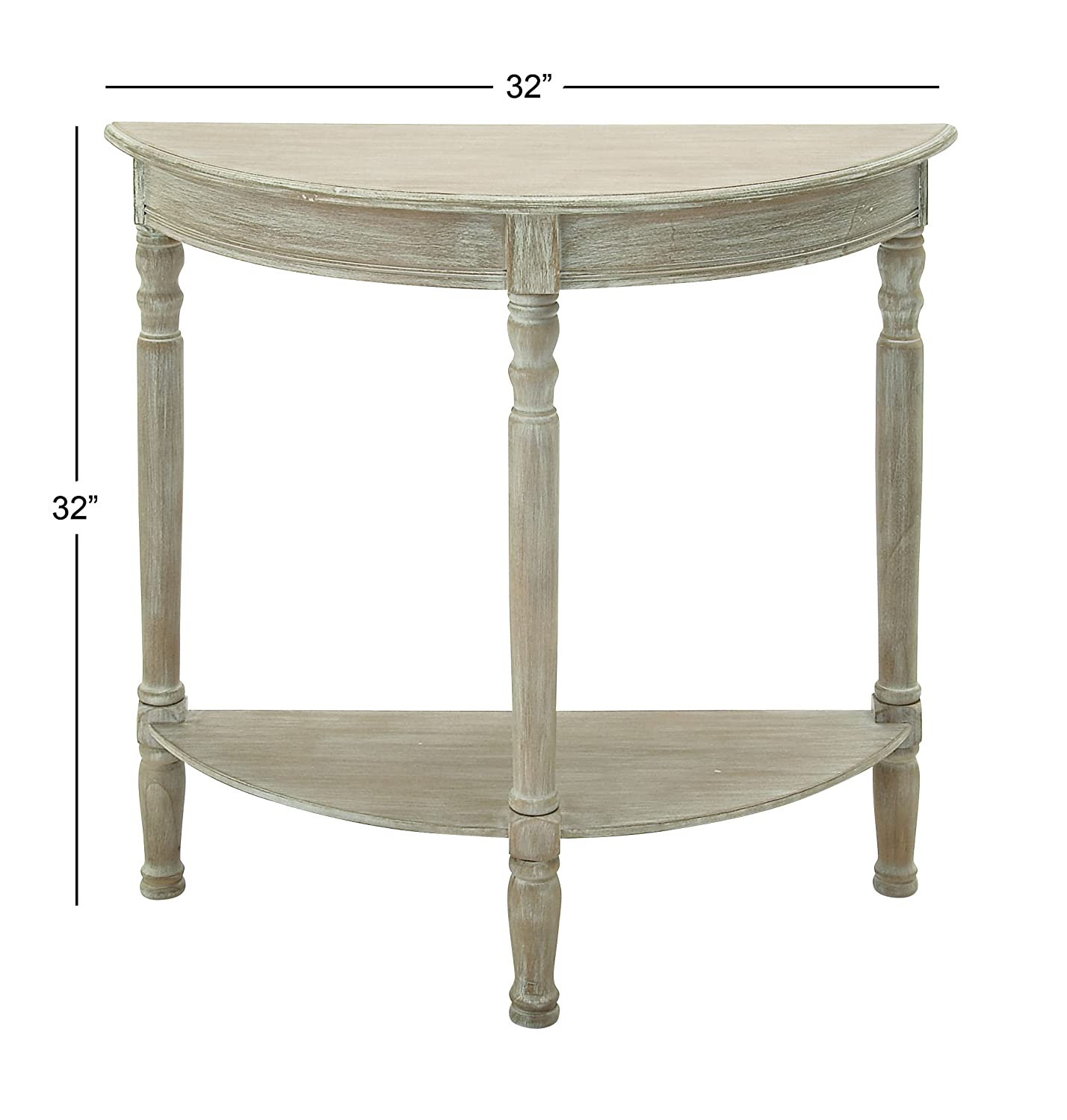 Outstanding Deco 79 96329 Wood 1 2 Round Console Table 32 X 32 Taupe Gmtry Best Dining Table And Chair Ideas Images Gmtryco