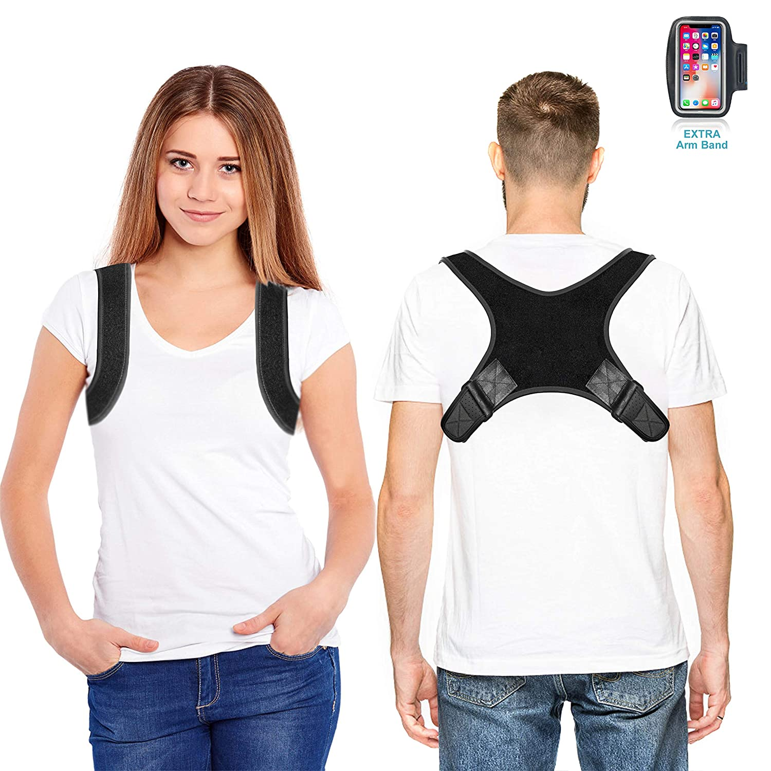 FDA Approved Fully Adjustable Back Straightener Discreet Back Brace for Upper Back Neck Pain Relief-Black Jasain Comfortable Posture Corrector for Women /& Men