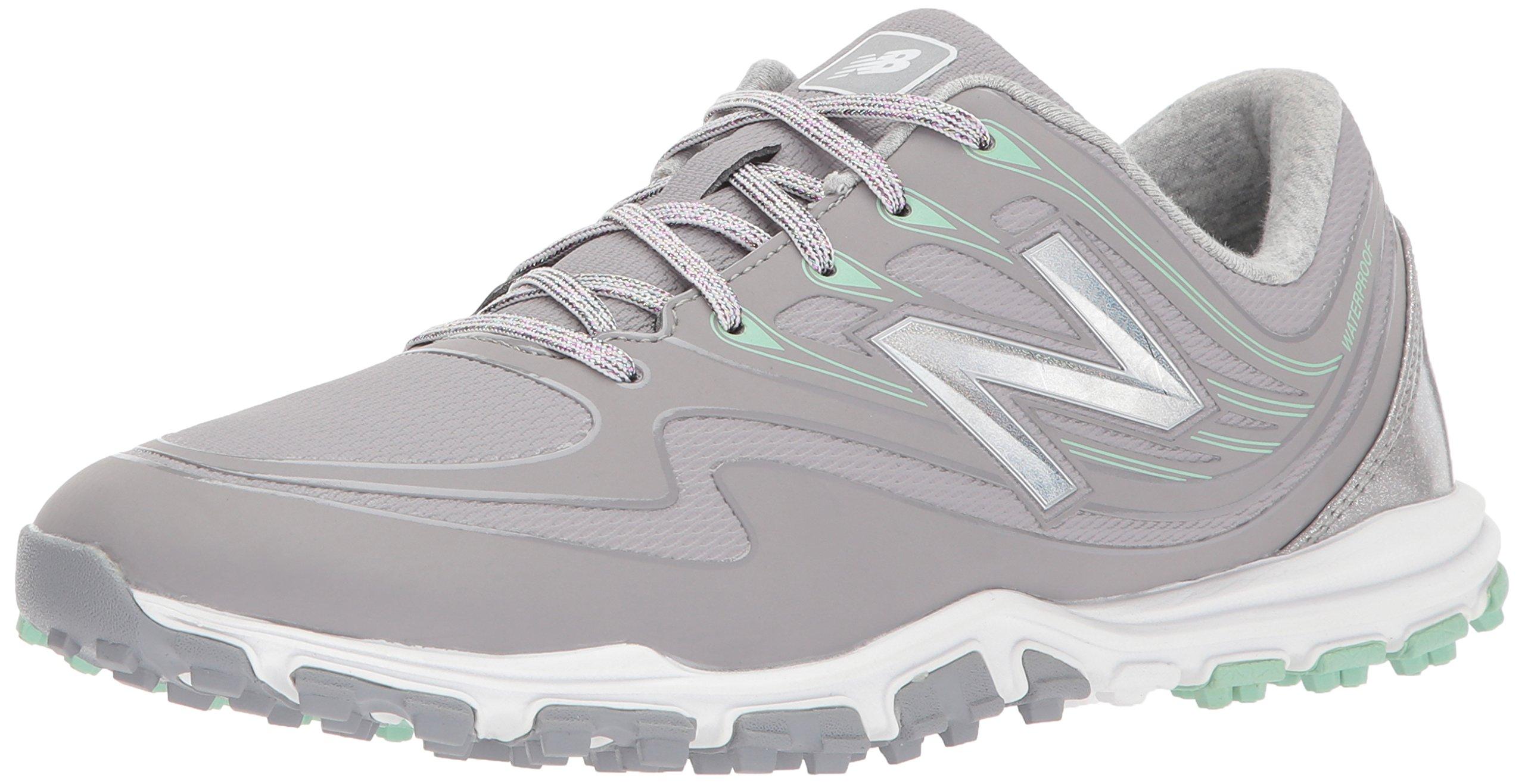 New Balance Women's Minimus WP Waterproof Spikeless Comfort Golf Shoe, Grey/Mint, 6 W