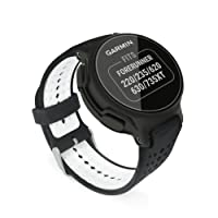 TUFF LUV Garmin Forerunner 220/235 / 620/630/ 645M / 735XT Replacement Silicone strap Bracelet Wrist Band [One Size] + tool - Black