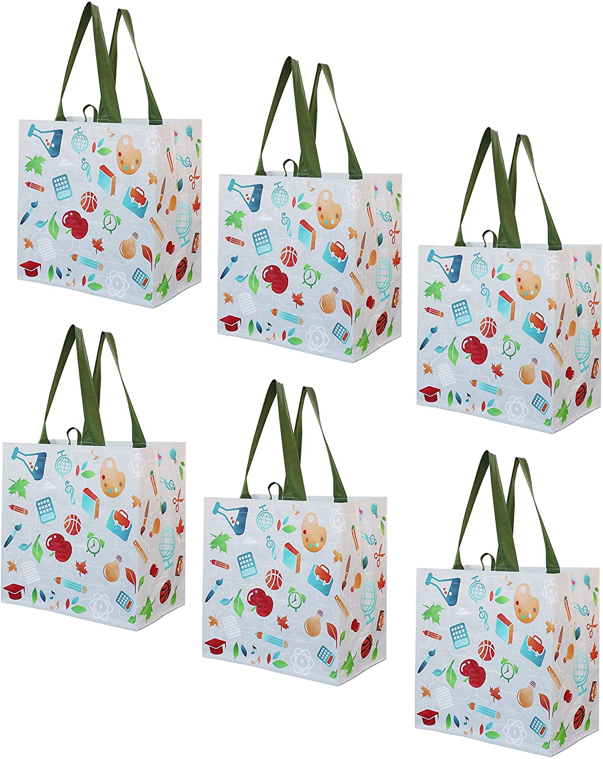 Earthwise Reusable Grocery Shopping Bags Extremely Durable Multi Use Large Stylish Fun Foldable Water-Resistant Totes Design - Back to School (Pack of 6)