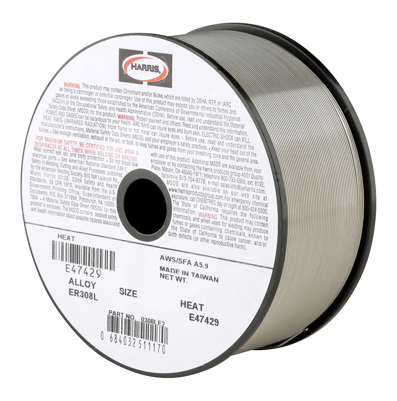 Harris 0308LF5 308L Welding Wire, Stainless Steel Spool, 0.035\