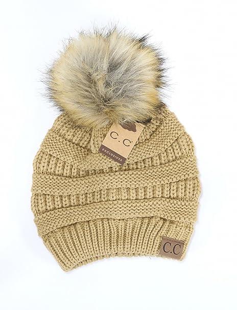 6f22d8ddedc44c Crane Clothing Co. New Women's Classic Fur Pom CC Beanies One Size (Camel)