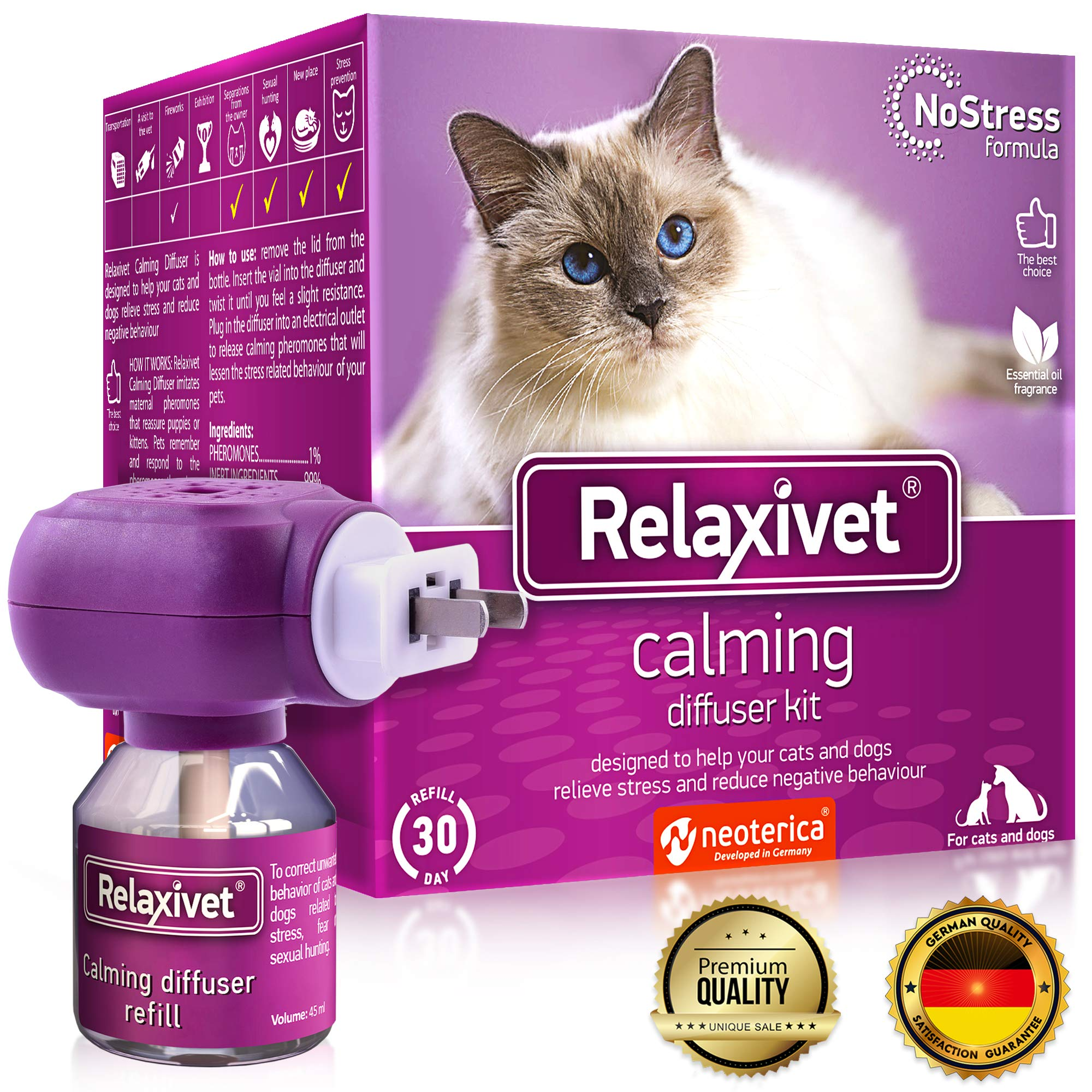 Relaxivet Natural Cat Calming Diffuser - Improved No-Stress Formula - Anti-Anxiety Treatment #1 for Cats and Dogs with a Long-Lasting Calming Effect