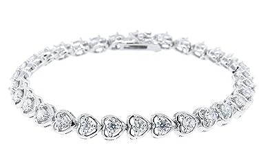 8372f4155 Cate & Chloe Rosalie 18k Heart Tennis Bracelet, Women's 18k Gold Plated Tennis  Bracelet with