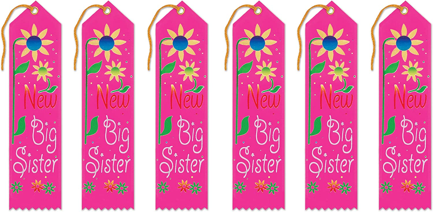 Amazon Com Beistle New Big Sister Award Ribbons 2 By 8 Inch 6 Pack Kitchen Dining