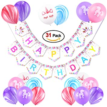 Konsait Unicorn Birthday Banner Rainbow Latex Balloons For Girls Party Decorations Home Decor Cute