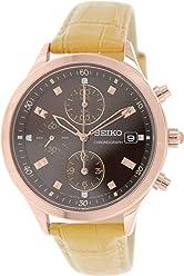 Seiko Chronograph Black Dial Tan Leather Ladies Watch SNDX04