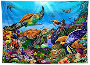 HVEST Sea Turtle Tapestry Wall Hanging Tropical Fish Jellyfish and Coral Reef Indie Room Decor Blanket Blue Ocean Tapestries for Living Room Kids Bedroom Teen Dorm,60x40 Inchs