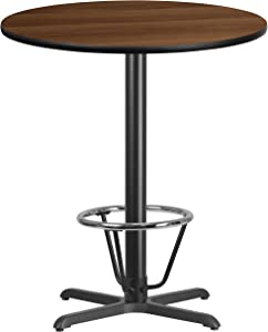 Flash Furniture 36'' Round Walnut Laminate Table Top with 30'' x 30'' Bar Height Table Base and Foot Ring