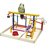 Penn Plax (BA148) Bird Toy Activity Center with Perches, Ladders, Bell, and Rope Large 18.5 Inch Height