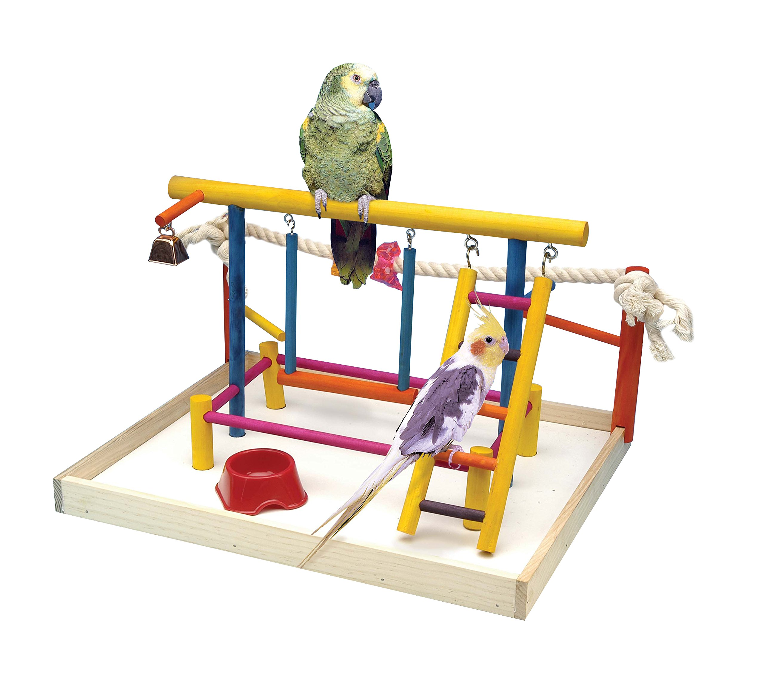 Penn Plax BA148 Bird Toy Activity Center With Perches, Ladders, Bell, and Rope Large 18.5 Inch Height