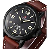 Mens Fashion Dress Analog Quartz Watch with Brown Leather Band Unique Big Face Number Retro Casual Wrist Watches Classic Business Waterproof Wristwatch Calendar Date Week - Black Brown